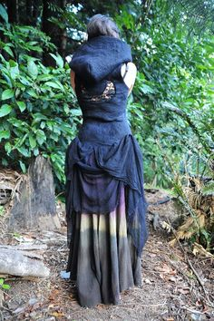 Felt Magical Pagan Witches Crescent Moon Goddess Vest Gown With Hood OOAK. $229.00, via Etsy.