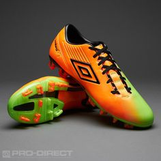 Umbro Football Boots - Umbro GT II Pro-A FG - Firm Ground - Soccer Cleats - Neon Orange-Black-Neon Green