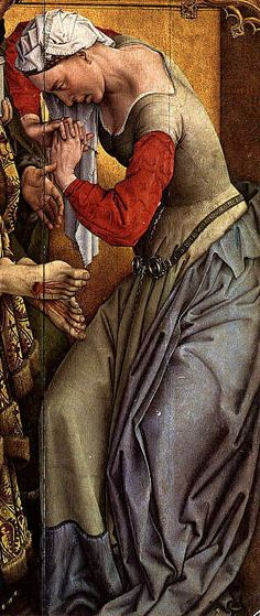 "Detail from Rogier van der Weyden's ""The Deposition""   (Davies, pl. 1)  The Magdalen wears a fitted kirtle, with waist seam and interesting piecing in the skirt . Her sleeves are pinned on."