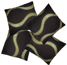4 Pack Chocolate & Lime Wave Pattern Woven Tapestry Fabric Cushion Cover