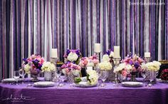 Loving the sparkle in this ribbon backdrop behind an equaly gorgeous purple tablescape!