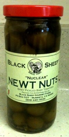"""Nuclear Newt Nuts """"Spicy Pickled Baby Tomatoes"""" Black Sheep Gourmet Foods"""
