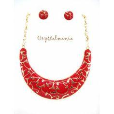 Set de collar y artes en tono rojo con detalles en tono dorado estilo 3052