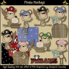 pirate monkey theme | Monkey Pirates Clip Art Download