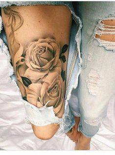 Lacee-Nachtwache - Tattoo Muster - List of the most beautiful tattoo models Rose Tattoo Thigh, Rose Tattoos, Flower Tattoos, Body Art Tattoos, Shaded Tattoos, Tatoo Rose, Tattoo Art, Hip Thigh Tattoos, Sleeve Tattoos For Women