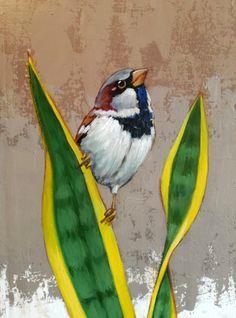 Sparrow bird painting mixed media 56 new Ideas Hope Is The Thing With Feathers, Bird Wall Decals, Sparrow Bird, Cool Art, Fun Art, Enamel Paint, Bird Art, Gouache, Mixed Media