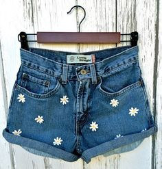 Levis High Waisted Shorts with dasies festival by BaileyRayDenim