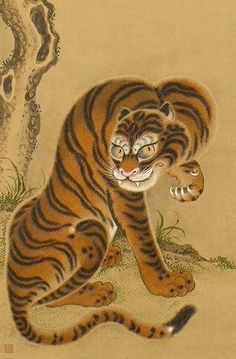 Detail. Tiger Cleaning Its Paw, early 19th century. Japan. Matsui Keichu. Ink and colors on paper. Minneapolis Institute of Arts - The Collection