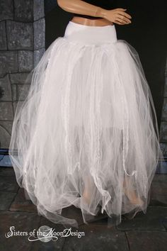 Streamer floor length tutu skirt formal Winter by SistersOfTheMoon, $150.00