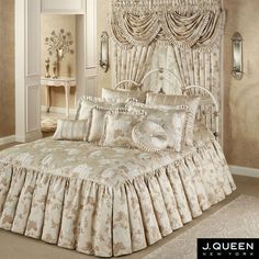Laurette Floral Ruffled Flounce Grande Bedspread from J Queen New York with black silk sheets Bed Cover Design, Daybed Sets, Beautiful Bedrooms, Dream Bedroom, Bed Covers, Soft Furnishings, Bed Spreads, Luxury Bedding, Bed Sheets