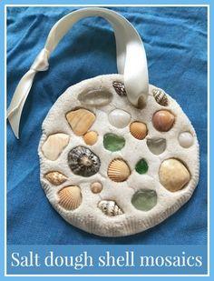 Salt dough shell mosaics craft
