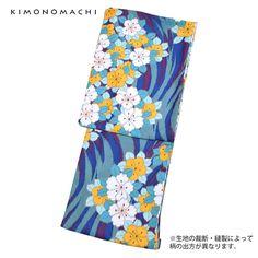 着物1:青色流水に花