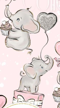 wall Baby Elephant Drawing, Elephant Love, Elephant Art, Elephant Nursery, Nursery Gray, Disney Phone Wallpaper, Cartoon Wallpaper, Cute Drawings, Animal Drawings