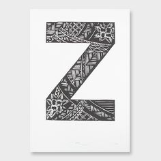 'Z' Typographic Woodcut by Dominique Baker