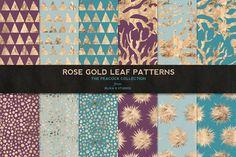 Rose Gold Leaf Digital Patterns No.2 by Blixa 6 Studios on @creativemarket