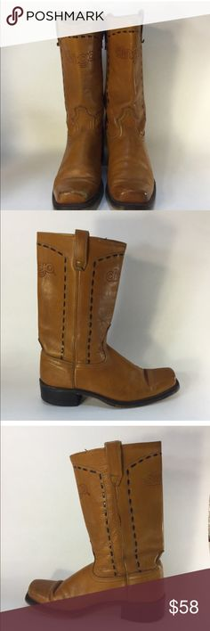 """Vintage Dingo Square Western Boots Unisex Campus Great vintage style that hits at mid calf.  Chunky heel and Dingo embossed across the front and back of the boot.  Boot shaft measures 13"""" including heel Top of boot at calf is 14"""" around Length of sole is approximately 11.25"""" long  8.5D mens 10.5 medium womens 1970s campus style with square toe great condition some prior wear as shown Vintage Shoes Heeled Boots"""