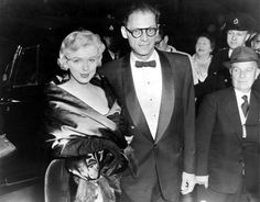 Marilyn Monroe and Arthur Miller at The Comedy Theatre in London, October 11th 1956.