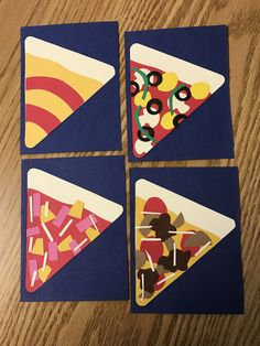 Pizza door decs 🍕 clockwise from top right: veggie, deluxe, ham and pineapple, and Grotto's style cheese. Created the crust, sauce, olives, and mushrooms using Cricut Simply Charmed cartridge and the other toppings by hand. 🍕🍕🍕