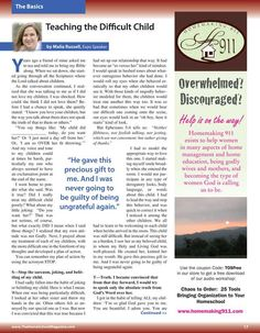 Teaching the Difficult Child By: Malia Russell--The Old Schoolhouse Magazine - Homeschool 101 Supplement - Page 17-18