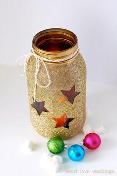diy-gold-glitter-mason-jars-candle-centerpiece