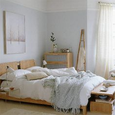gray, white, and natural wood- change wall color to slate/muted blue