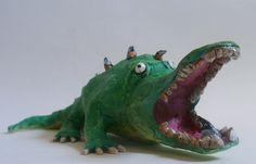 Crocodile with Birds Sculpture - Fat Crocodile Figurine, Funny Animal, Folk Art Ornament, Crocodile Paperweight