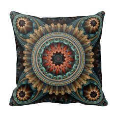 """Square throw pillow with """"Essaouira,"""" an abstract Apophysis fractal by Susan Wallace. Copyright © 2010, Susan Wallace. Richly detailed mandala in turquoise, gold, orange and maroon. Design sized to fit square pillow; rectangular lumbar support cushion also available."""