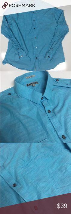 Express-Blue Stretched Cotton B/Down Lapel XXL Express-Blue Stretched Cotton B/Down Lapel XXL Beautiful! Display model Express Shirts Casual Button Down Shirts