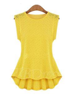 TBDress - TBDress Tunic Plain Lace Sleeveless Womens Blouse - AdoreWe.com
