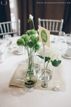 #centerpiece #green #white #table #seating #flowers #weddings #photography #mangostudios photography by Mango Studios