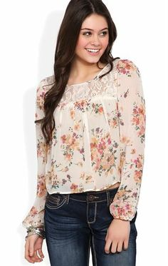 Deb Shops Long Sleeve Mid Crop Top with Floral Print and Crochet Back $17.92