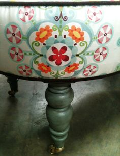 """Lovely Candace Oval Ottoman~40"""" L x 24""""W x 19"""" H The legs are finished in our Caribbean Blue finish~ upholstered in a floral silk fabric~This ottoman is $250.00 and we have about 15 of these ottomans built up in white wood with brass casters just waiting for you to bring us YOUR fabric."""