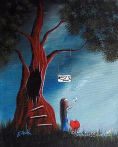 ORIGINAL SURREAL PAINTING Shawna Erback Landscape by shawnaerback, $250.00