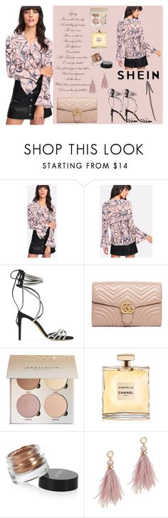 """""""Flounce Sleeve Collar Detail Blouse! SHEIN"""" by selma-polyvor ❤ liked on Polyvore featuring Alexandre Vauthier, Gucci, Inglot and Lizzie Fortunato"""