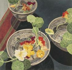 Cressida Campbell: 'Nasturtiums' 2002.  (From the Private Collection of Margaret Olley)  Original.  Woodblock print 62.5 x 64.6cm  Edition of 99 Prints:  Pigment colours on Hahnemühle 'German Etching' 62.5 x 64.6cm