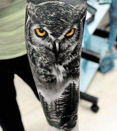 Owl Skull Tattoos, Owl Eye Tattoo, Mens Owl Tattoo, Owl Tattoo Drawings, Animal Sleeve Tattoo, Arm Sleeve Tattoos, Tattoo Sleeve Designs, Animal Tattoos, Body Art Tattoos