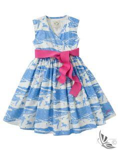 Little Joule Girls' Croquet Dress - Blue Beach