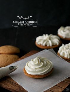 Magical Cream Cheese Frosting (Cook sugar, flour, cornstarch and milk on medium heat until thickened. When cold, whip at high speed along with lemon juice and vanilla, then whipe in cream cheese, one TBS at a time, then the butter also, a TBS at a time).