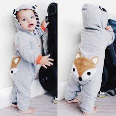 Boy Girl Long Sleeve Cotton Cartoon Cute Romper Jumpsuit Outfits Clothes kaiCran Newborn Baby Fox Romper