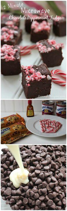 2-Minute Microwave Chocolate Peppermint Fudge.
