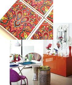 Aimee's Blog: Textiles & Other Ramblings: Coasters For Any Occasion. modern Moroccan living, Moroccan style coasters, orange