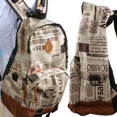 Unisex Newspaper Print Shoulder Tote Canvas Casual Backpack Travel Bag Outdoor #Other #Backpack