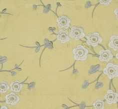 Blossom Silk Embroidered Curtain Fabric Pale yellow silk with beautiful grey and white embroidered blossom design