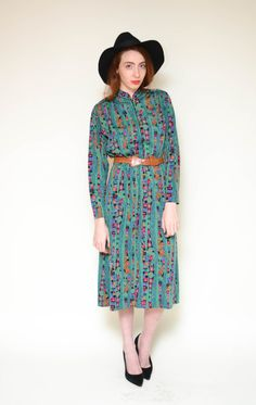 80s GEOMETRIC abstract printed secretary dress by BrownCowVintage