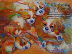 """Painting a Dog a Day: Pile, 12"""" x 16"""" portrait of Cavalier King Charles puppies, Kimberly Kelly Santini"""