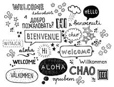 Image of 'Welcome in different languages. Culture
