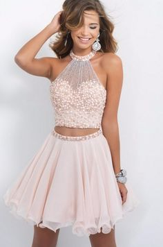 New Fashion Chiffon Beads Crystal Ruched Pleat Elegant A-Line Homecoming Dresses Sleeveless Halter Off the Shoulder Party Dress