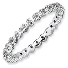 Sterling Silver Stackable Expressions White Topaz Diamond Ring QSK535 #wedding #anniversary #eternity #band #ring