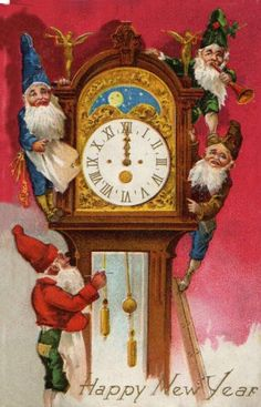 Happy New Year  (gnomes, tomten, nisse) with grandfather clock