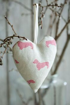 Lavender Heart by Emily Bond In a pink dachshund design Pol Roger Champagne, Plum And Ashby, The Pig Hotel, Emily Bond, Kate Forman, Fabric Hearts, Hanging Hearts, Little Gifts, Lavender